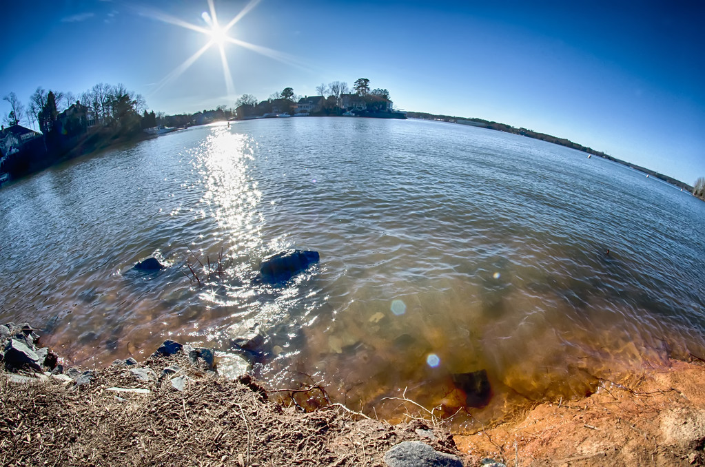 sun shining over lake wylie in north carolina