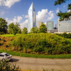 skyline and city streets of charlotte north carolina usa