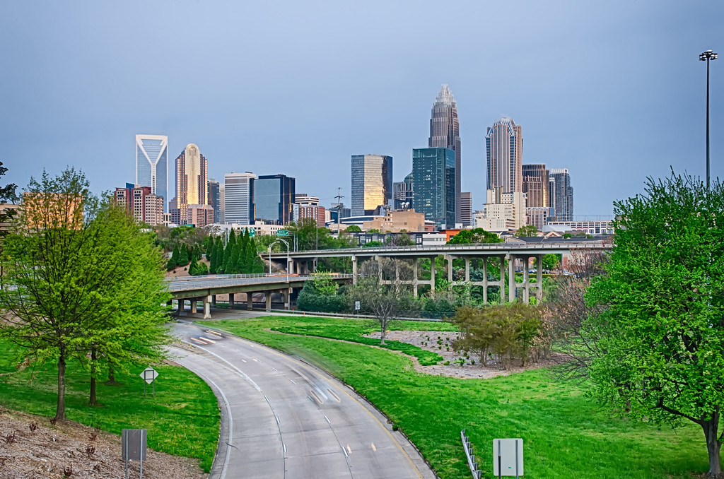 early cloudy morning over charlotte skyline in north carolina