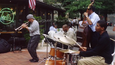 WE BOP - summer evenings were special when the music was played in the plaza by Trellis..Tex had a wonderful unit that night with the young drummer from Harlem and seasoned bassman Fleming (?) I was trying to get the feel of the moment on that hot but 'cool' summer evening