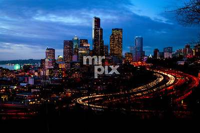 Seattle. Architectural Photography by Michael Moore | MrPix.com #seattle #seattleatdusk #i5 #thebigwheel