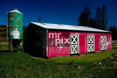 Old Red & White barn with Green Water Tower. Photo by ©2015 Michael Moore - MrPix.com