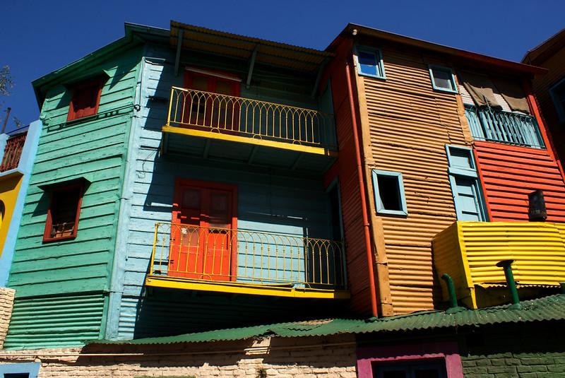 BUENOS AIRES. LA BOCA. FAMOUS COLOURFUL ITALIAN HOUSES.