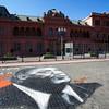 BUENOS AIRES CAPITAL. CASA ROSADA. PRESIDENTIAL PALACE WITH GRAFITTY OF NESTOR KIRCHNER. [CASA DE GOBIERNO] BUENOS AIRES.