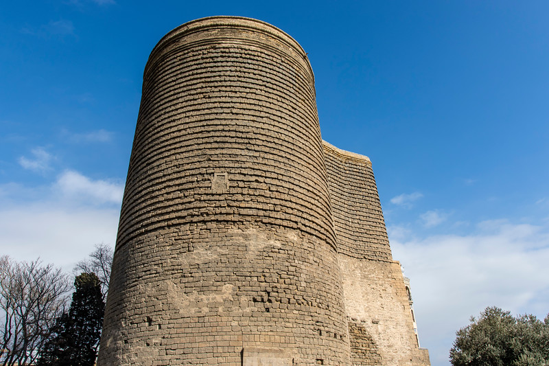 Exterior of the Maidan's Tower (Qiz Qalasi), an Unesco World Heritage Site in Baku, Azerbeijan
