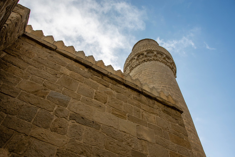 Facade and minaret of the Muhammad Mosque in the old city of Baku, Azerbeijan