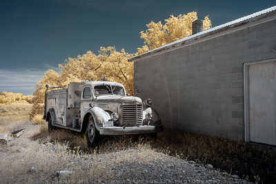 Abandoned Firetruck in a semi-abandoned town
