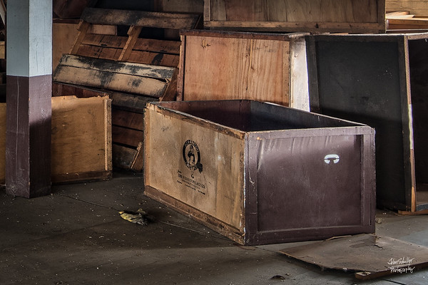 Still in tact, a storage box so marked from the Scranton Lace Company.    © John Schiller Photography
