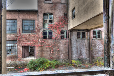 View through the windown from one building across the courtyard to another.  © John Schiller Photography