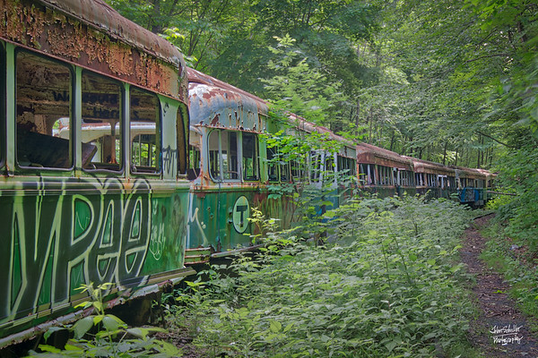 MBTA Trolly lost it's way?  Found in the woods - in the middle of Pennsylvania!