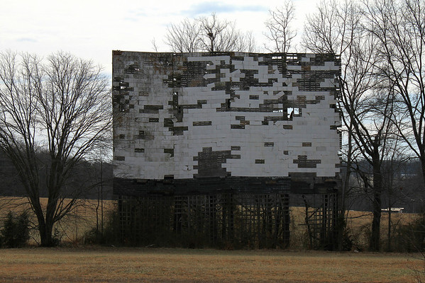 East Bend Drive-In. Two weeks after this photo a wind storm took down a large center section of the screen. East Bend, NC