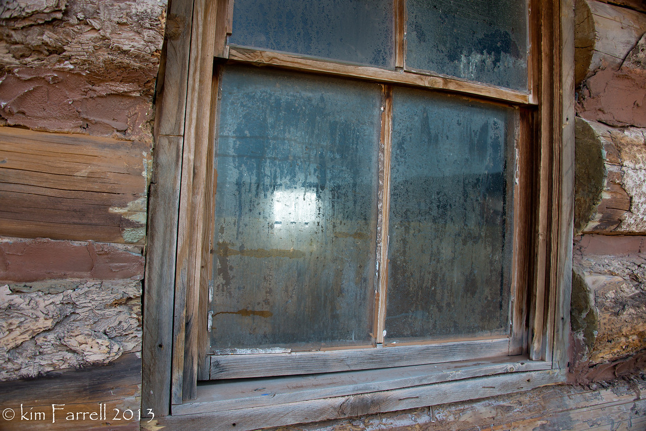 Log cabin window.