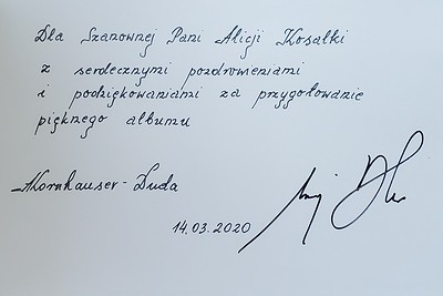 Dedication from Polish President and First Lady
