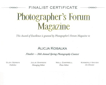 Finalist Photographer's Forum Magazine Contest 2016