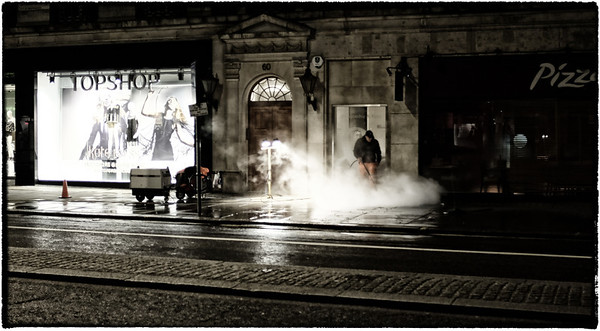 Streets of London being cleaned...pic taken at 2 in the morning