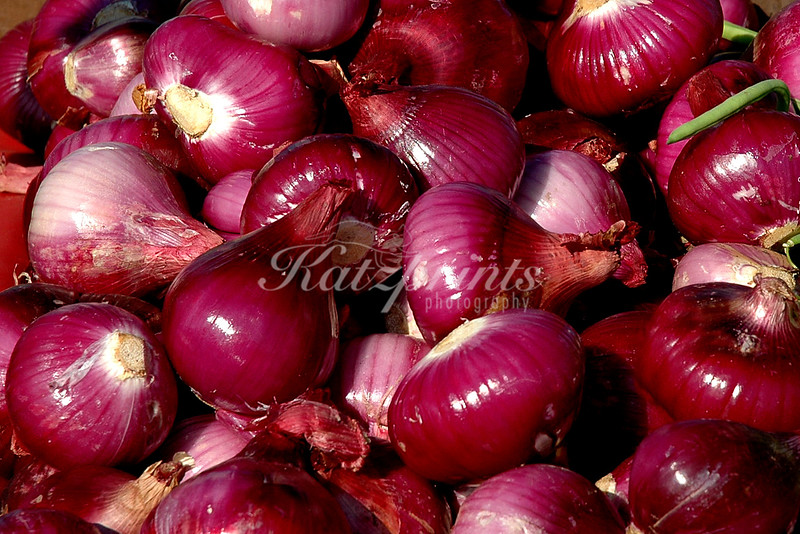Red onion display at local Farmer's market