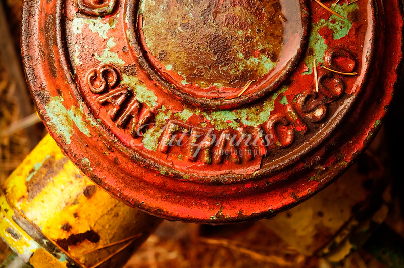 Detail of an old Seagrave (Columbus, Ohio) fire engine