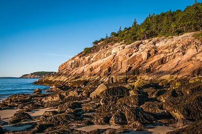 Sand Beach Rocks at Low Tide