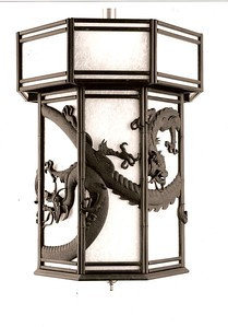 Ebony carved Chinese lantern