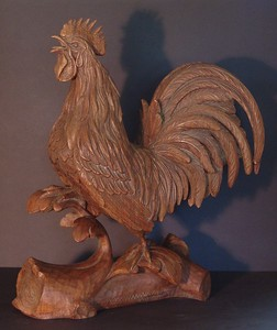 Carved walnut rooster