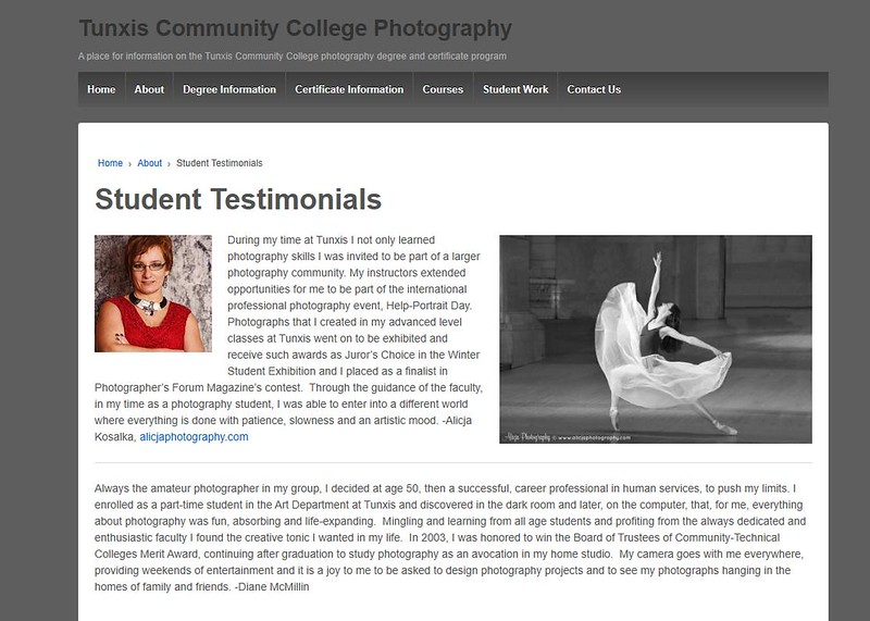 Alicja Photography Profile was selected as Tunxis Community Collage Student Testimonials Sample