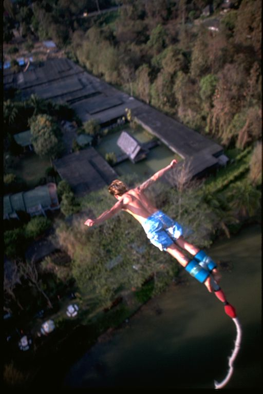 Bungee jumping...falling iron cross style in Thailand