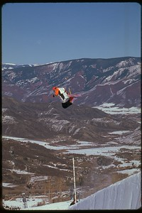 Halfpipe soaring in Snowmass, Colorado