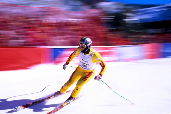 24 Hours of Aspen race skier blur, Colorado
