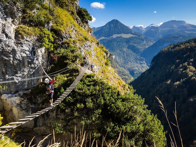 Klettersteig bridge crossing, Austria