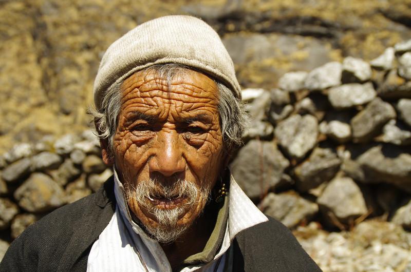 Old men in Kyanjin Gompa, Langtang Himalayas