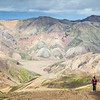 Sarah hiking in front of Landmannalaugar mountains, in the central highlands.