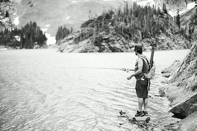 Fly fishing a Lake Agnes