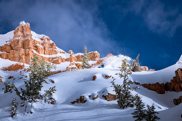 Slashing fresh snow in Southwest Utah