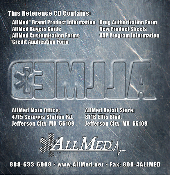 AllMed Brand products CD reverse side. This CD contained our Buyer's Guide, individual flyers of AllMed Brand products, informational forms, and other documents for existing and potential customers.