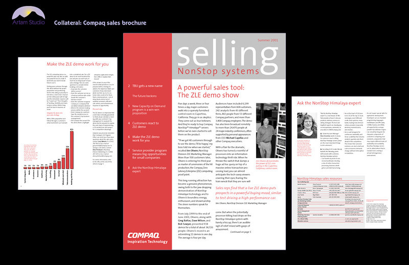 Produce 8-page, 2-color Compaq product newsletter to existing template. Obtain, scan and edit images, convert to grayscale, create infographics. Prep files and hand off to printer. Yes, I have used Windows too!