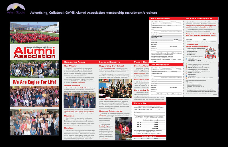 Design and produce 4-color trifold informational/membership recruitment brochure for GWHS Alumni Association, including image sourcing & prep, match to new corp identity, copyedit, spec paper, source printer & upload print-ready PDF.