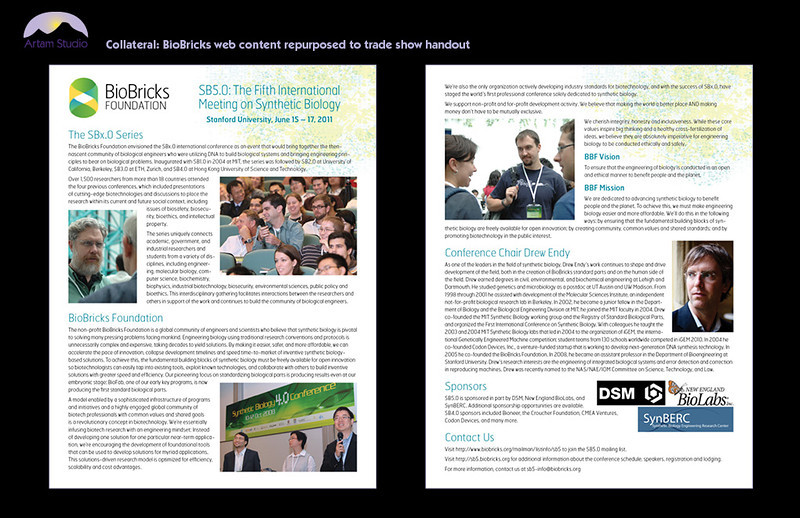 Repurpose BioBricks web content to full-page handout; obtain, select & prep photos, edit copy, design/produce & upload to printer.