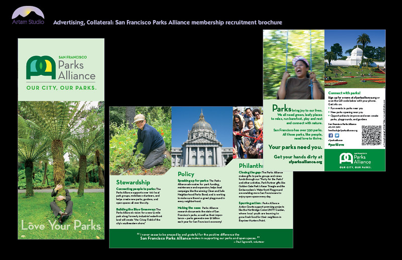 Design and produce 4-color trifold informational/membership recruitment brochure for S.F. Parks Alliance, including image sourcing & prep, spec colors, match to corp identity, copyfit, upload print-ready PDF to printer.