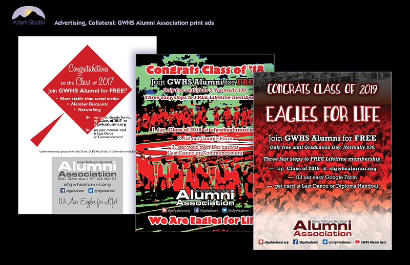 Design & produce full-page ad, trifold brochure, and recruitment form for GWHS Alumni Association; select & prep photos, prep & upload to printers.
