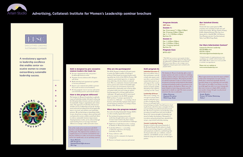 Design and produce trifold recruitment brochure for Institute for Women's Leadership ELSC workshops. Color palette picked up from existing pieces.