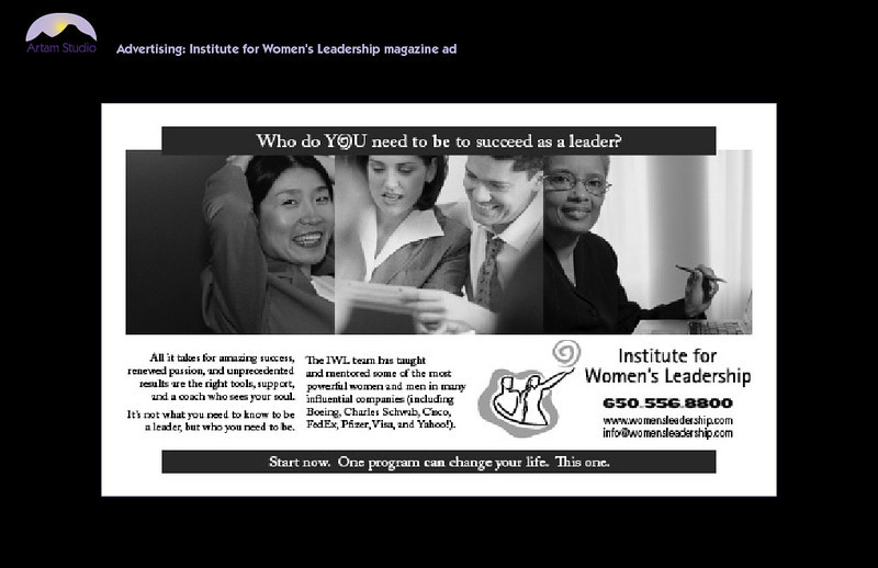 Design & produce half-page Institute for Women's Leadership magazine ad picking up elements from two previous full-page ads; copyedit accordingly.