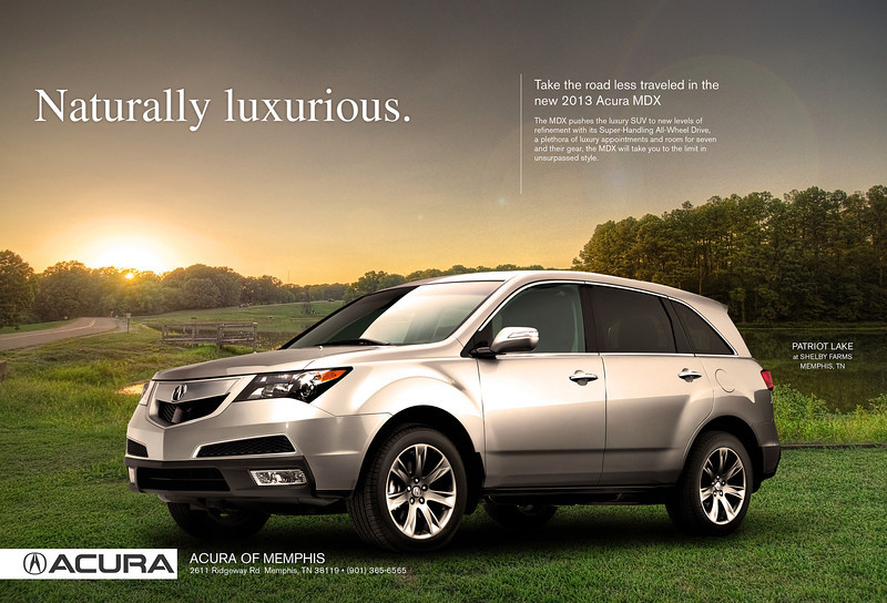 Speculative ad for local Acura dealership to by used in FIX magazine. Background photo and compositing by Jason R. Terrell.