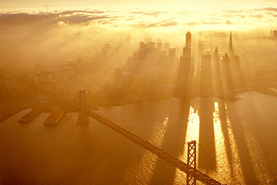 Downtown at sunset, San Francisco, CA.