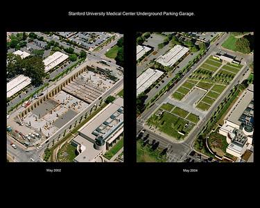 Stanford University Medical Center Underground Parking Garage. Vance Brown Construction In Progress Aerials.
