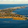 Aerial view of Saltaire and Kismet on Fire Island. Looking west you can see the Fire Island Lighthouse and Robert Moses Park.