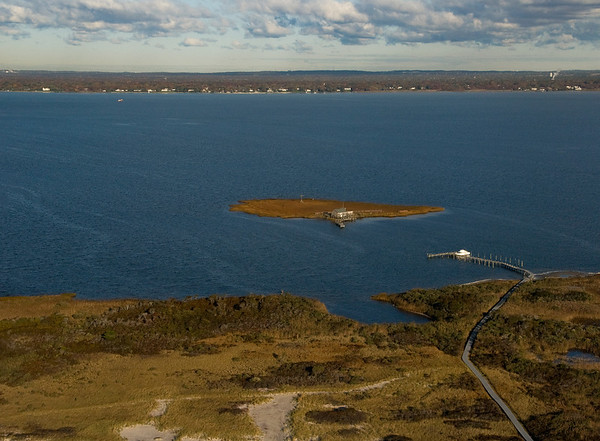 Fire Island, looking north to Bellport, Brookhaven Township.