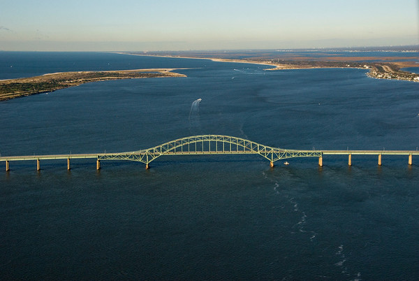 The Robert Moses Bridge, looking west toward the Fire Island Inlet.