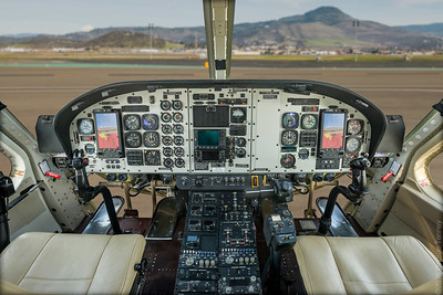 This Bell 412 helicopter cockpit was photographed on location in Medford, OR.