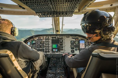 This Bell 412 helicopter cockpit was photographed in flight over Medford, OR.