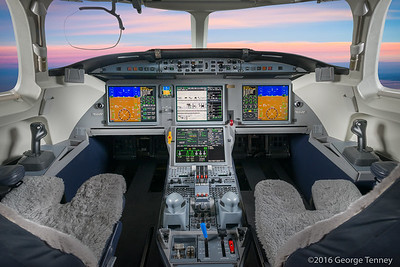 Dassault Falcon 7x business jet cockpit. Honeywell Flight Operations, Phoenix, Arizona. GoDirect, HAPP, MPP.